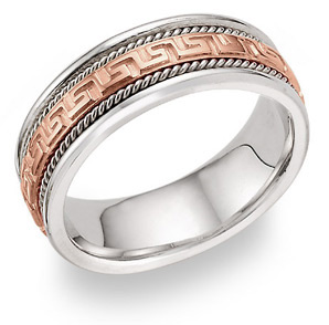 18K Rose Gold Greek Key Wedding Band Ring