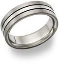 Black Titanium Grooved Wedding Band Ring