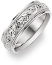 18K White Gold Paisley Etched Wedding Band