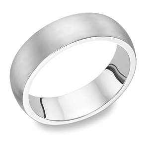 18K White Gold Brushed Wedding Band