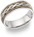 14K Two-Tone Gold Braided Wedding Band Ring