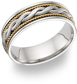 Braided Wedding Band Ring, 18K Two-Tone Gold