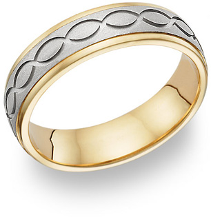 14K Two-Tone Gold Design Wedding Band Ring