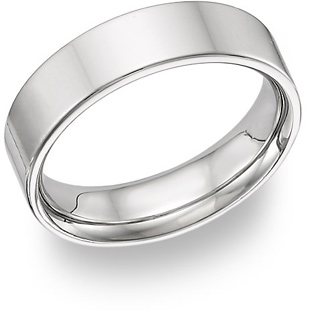 18K White Gold Flat Wedding Band Ring - 6mm