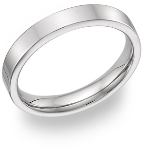 14K White Gold Flat Wedding Band Ring - 4mm