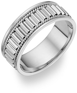 14K White Gold Design Wedding Band