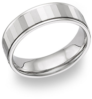 18K White Gold Mirror Design Wedding Band