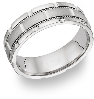 14K White Gold Design Wedding Band Ring