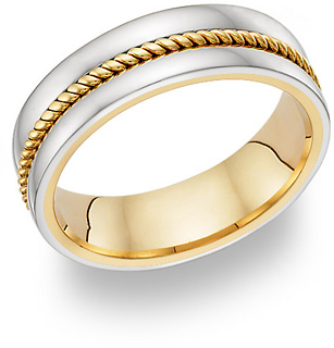 14K TwoTone Gold Rope Design Wedding Band Ring