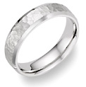 Beveled Hammered Wedding Band in 18K White Gold