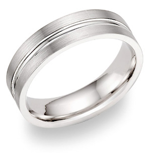 14K White Gold 2 Row Wedding Band Ring