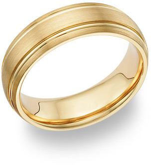 14K Yellow Gold Brushed Wedding Band