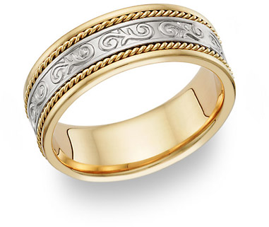 Paisley Wedding Band Ring - 14K Two-Tone Gold