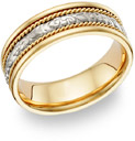 Vine Design Wedding Band - 14K Two-Tone Gold