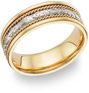 Vine Design 18K Gold & Platinum Wedding Band