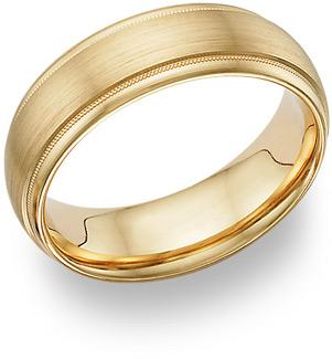 14K Yellow Gold Brushed Wedding Band