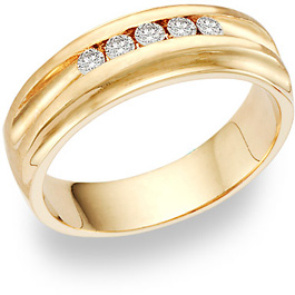 5 Diamond Wedding Band Ring (0.35 Carats) (Wedding Rings, Apples of Gold)