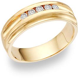 5 Diamond Wedding Band Ring (0.35 Carats)