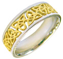 Celtic Trinity Knot Band Ring - 14K Two-Tone Gold