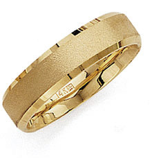 14K Gold Brushed 6mm Wedding Band Ring
