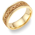 Greek Key Wedding Band in 14K Yellow Gold