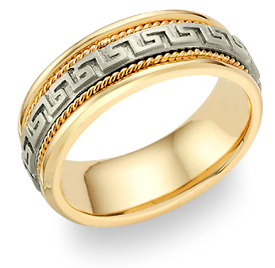 Greek Key Wedding Band Ring - 14K Two-Tone Gold