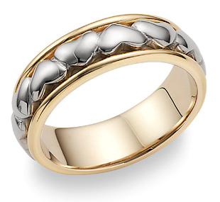 Heart Wedding Band in 18K Two-Tone Gold