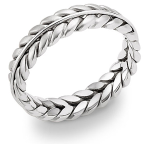 14K White Gold Wreath Wedding Band Ring