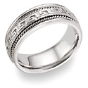 Greek Key Wedding Band in 18K White Gold
