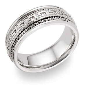 Buy Greek Key Wedding Band in 18K White Gold