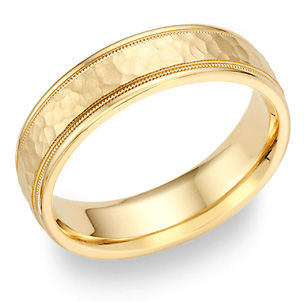 18K Gold Hammered Milgrain Wedding Band Ring