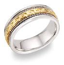 Platinum and 18K Gold Greek Key Wedding Band