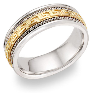 Greek Key Wedding Band, 14K Two-Tone Gold