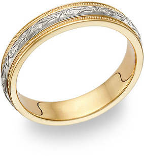 Buy Paisley Wedding Band in 18K Two-Tone Gold