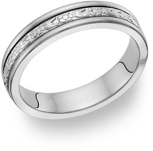 14K White Gold Floral Wedding Band Ring