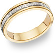 14K Two-Tone Gold Floral Wedding Band Ring