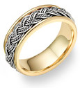 Hand Braided Wedding Band Ring, 14K Two-Tone Gold
