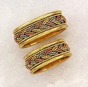 Tri-Color Braided Wedding Band Ring - 14K Gold
