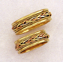 14K Tri Color Gold Braided Wedding Band Ring
