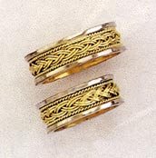 Braided with Rope Design Wedding Band Ring, 14K Two-Tone Gold