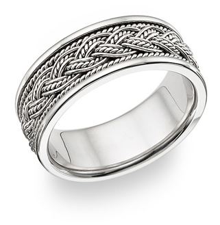Braided Wedding Band Ring - 14K White Gold