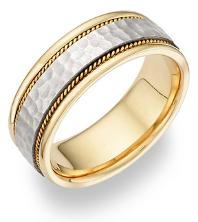 Jewelry-Brushed Hammered Wedding Band in 14K Two Tone Gold