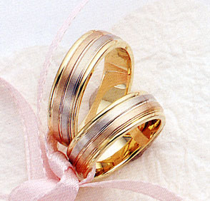 14K Gold Tri-Color Designer Wedding Bands