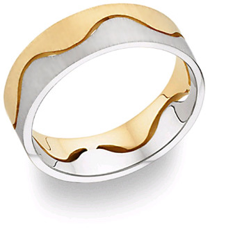 Jewelry-Two Halves Design Wedding Band, 14K Two Tone Gold