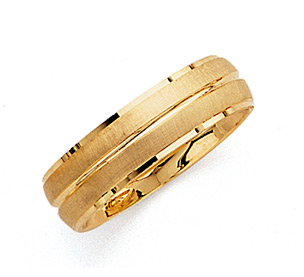 6.5mm Double Row Brushed Wedding Band Ring - 14K Gold
