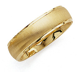Brushed Wedding Band Ring - 14K Gold - 6.5mm Wide