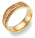 Braided Wedding Band Ring - 14K Gold