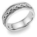 Woven Wedding Band Ring, 14K White Gold