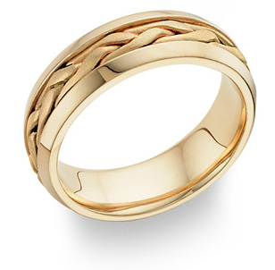 Braided Wedding Band Ring in 14K Gold