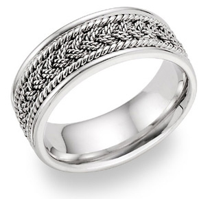 Multi-Braided Wedding Band - 14K White Gold